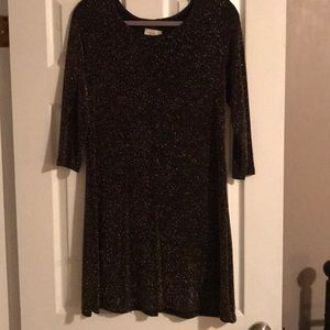 NWT Black and gold shimmer dress. Size L